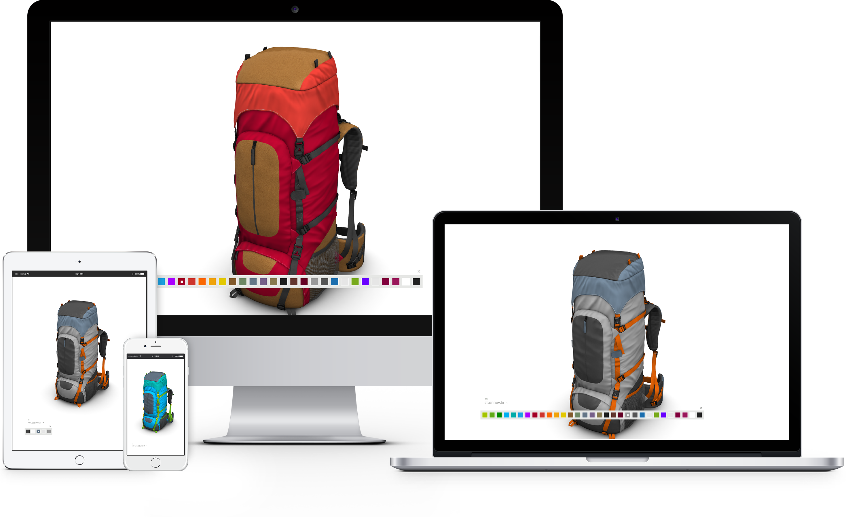 presentation webgl backpack responsive on desktop table mobile