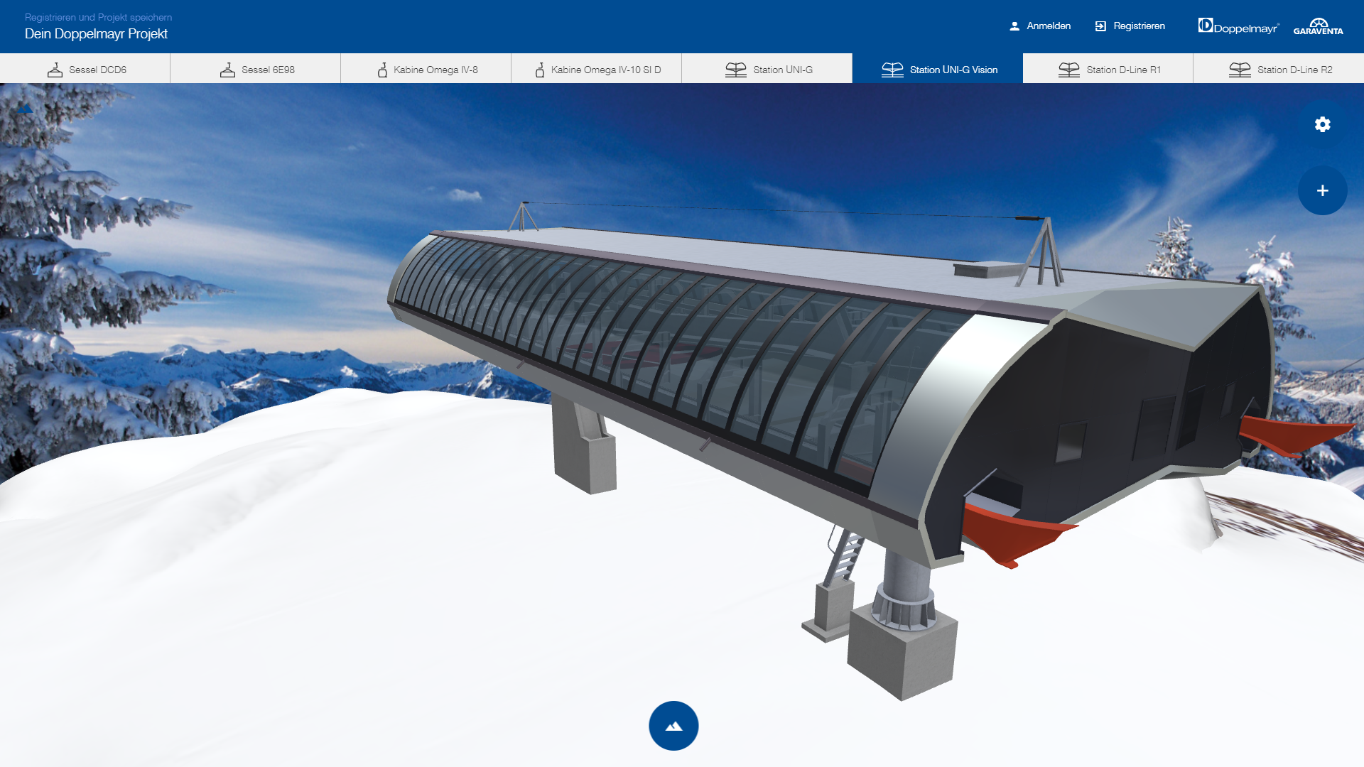 doppelmayr mountain station in webgl 3d configurator
