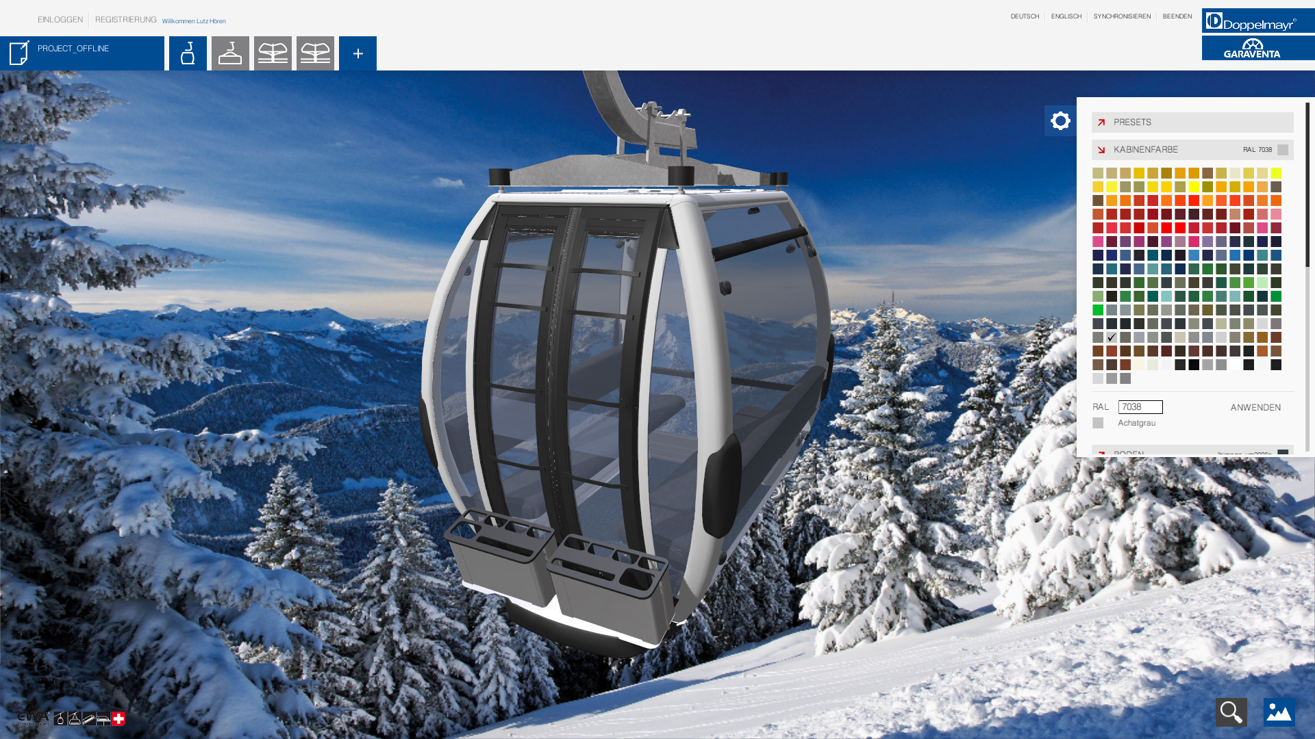 doppelmayr ropeway configurator gondola with user interface