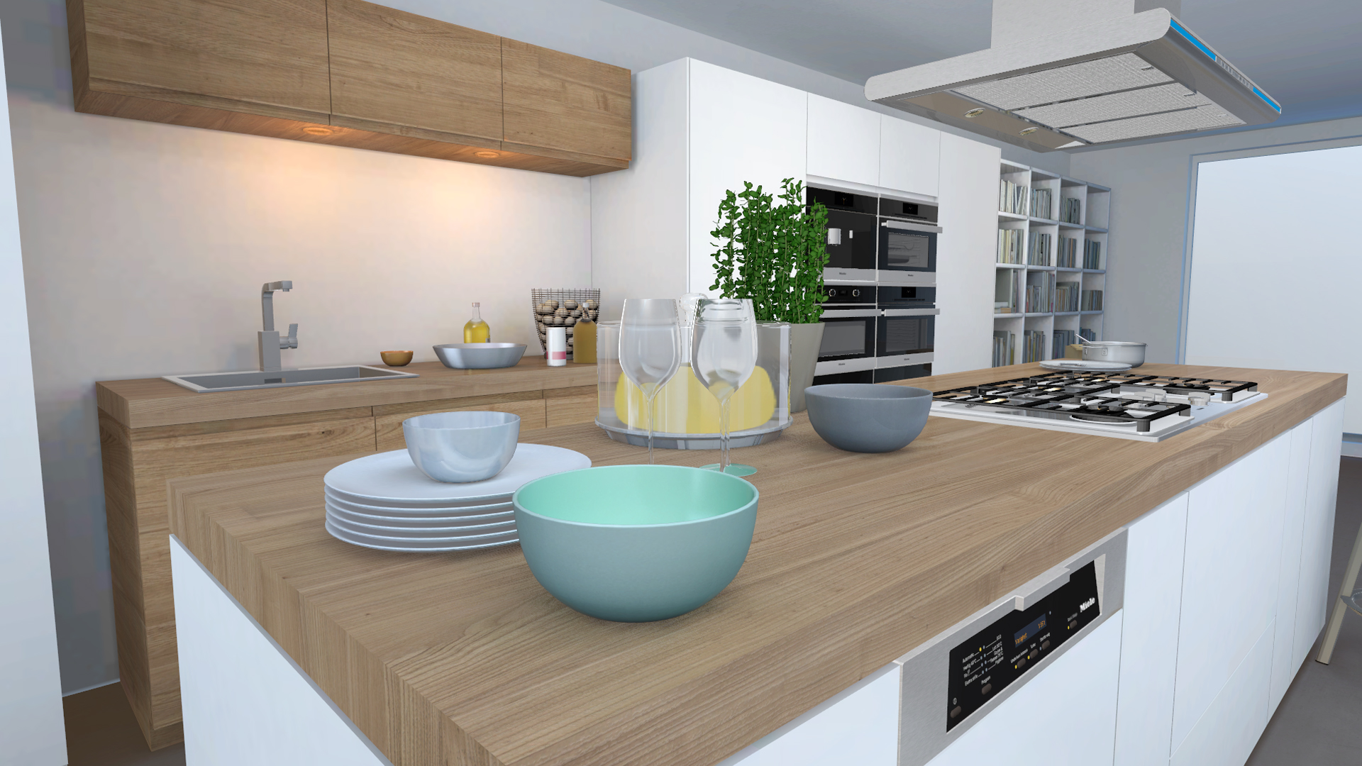 miele configurator visualization of wooden countertop with dishes