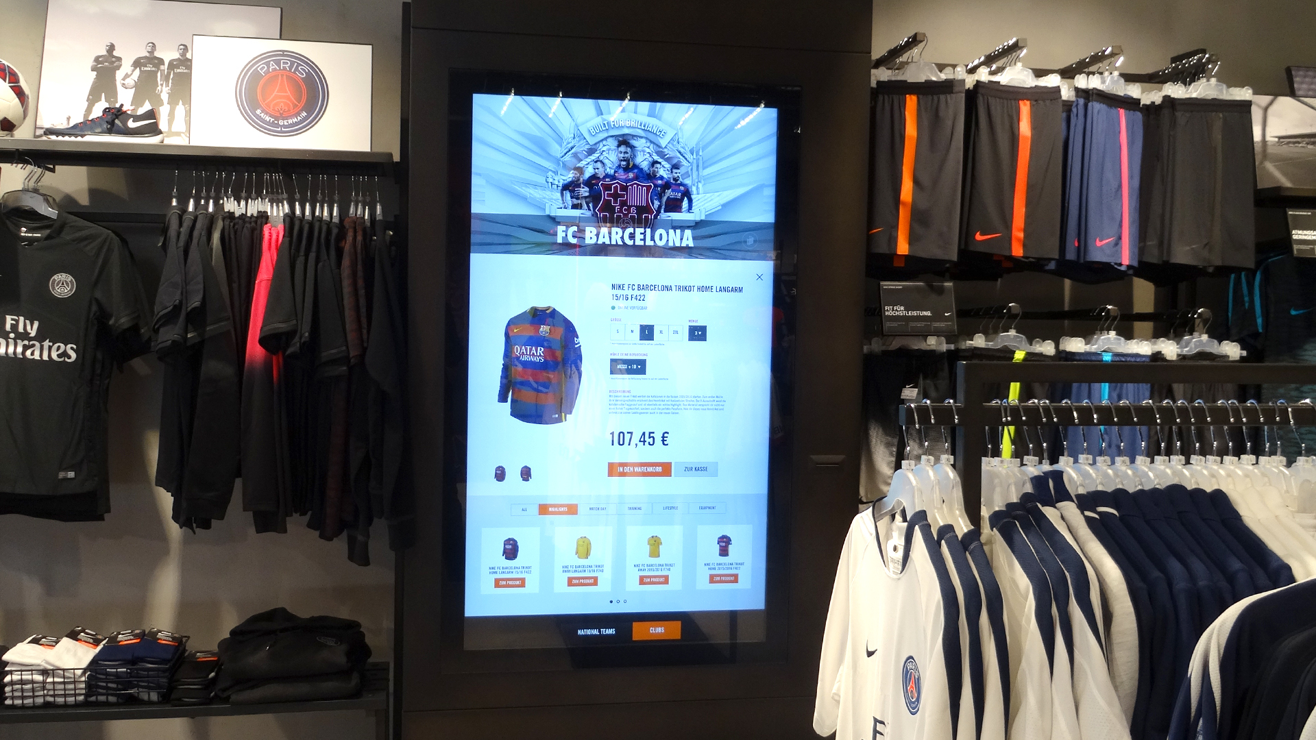 nike digital retail experience replica kiosk on 4k multitouch display