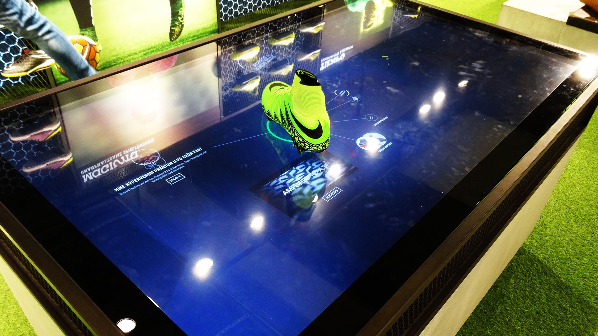 nike digital retail experience shoe information on multitouch table with rfid