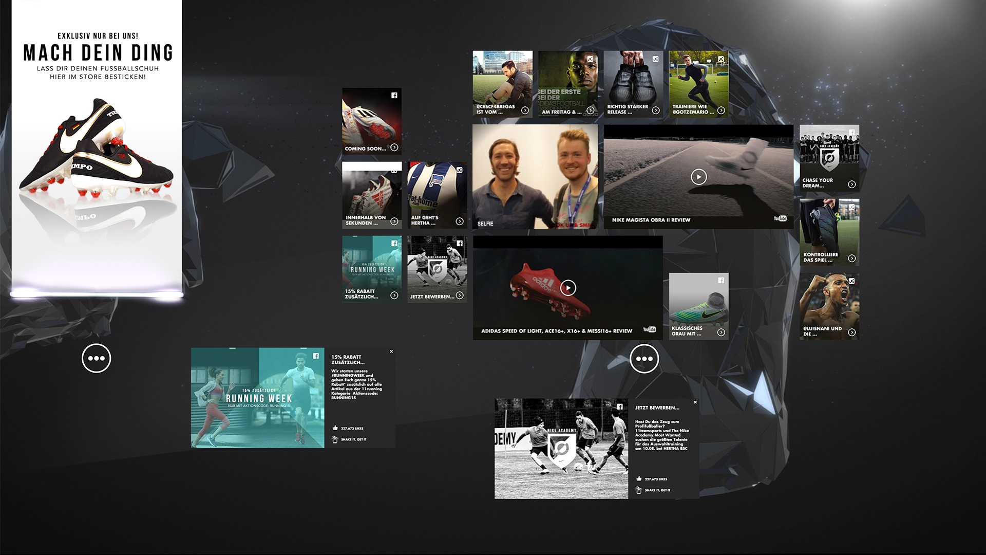 nike digital retail experience unity social media wall with facebook and twitter news