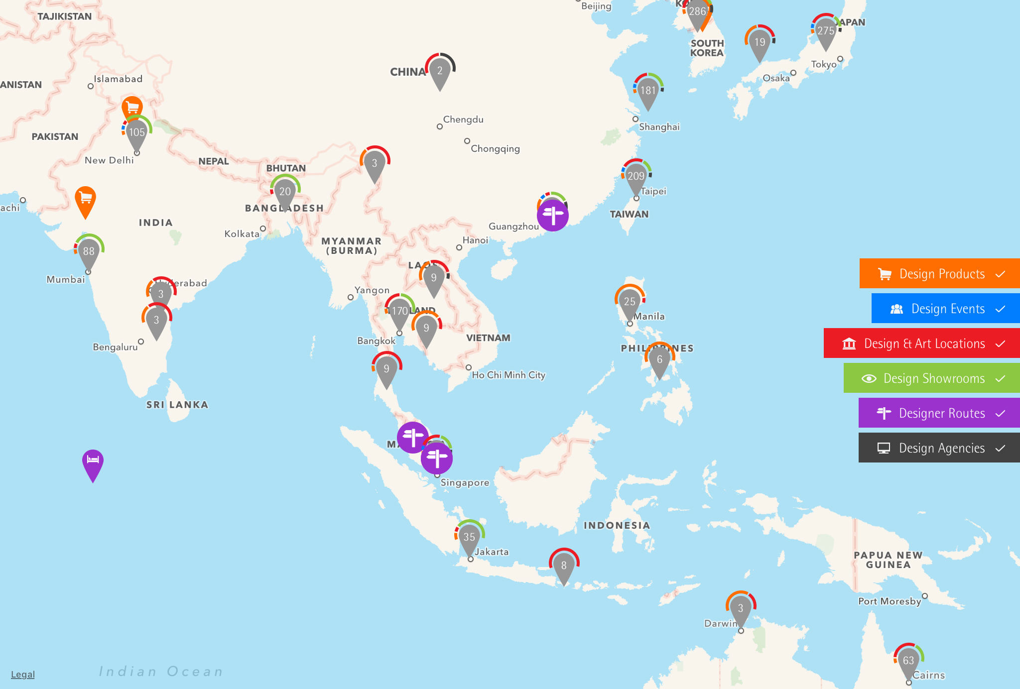red dot maps design locations asia