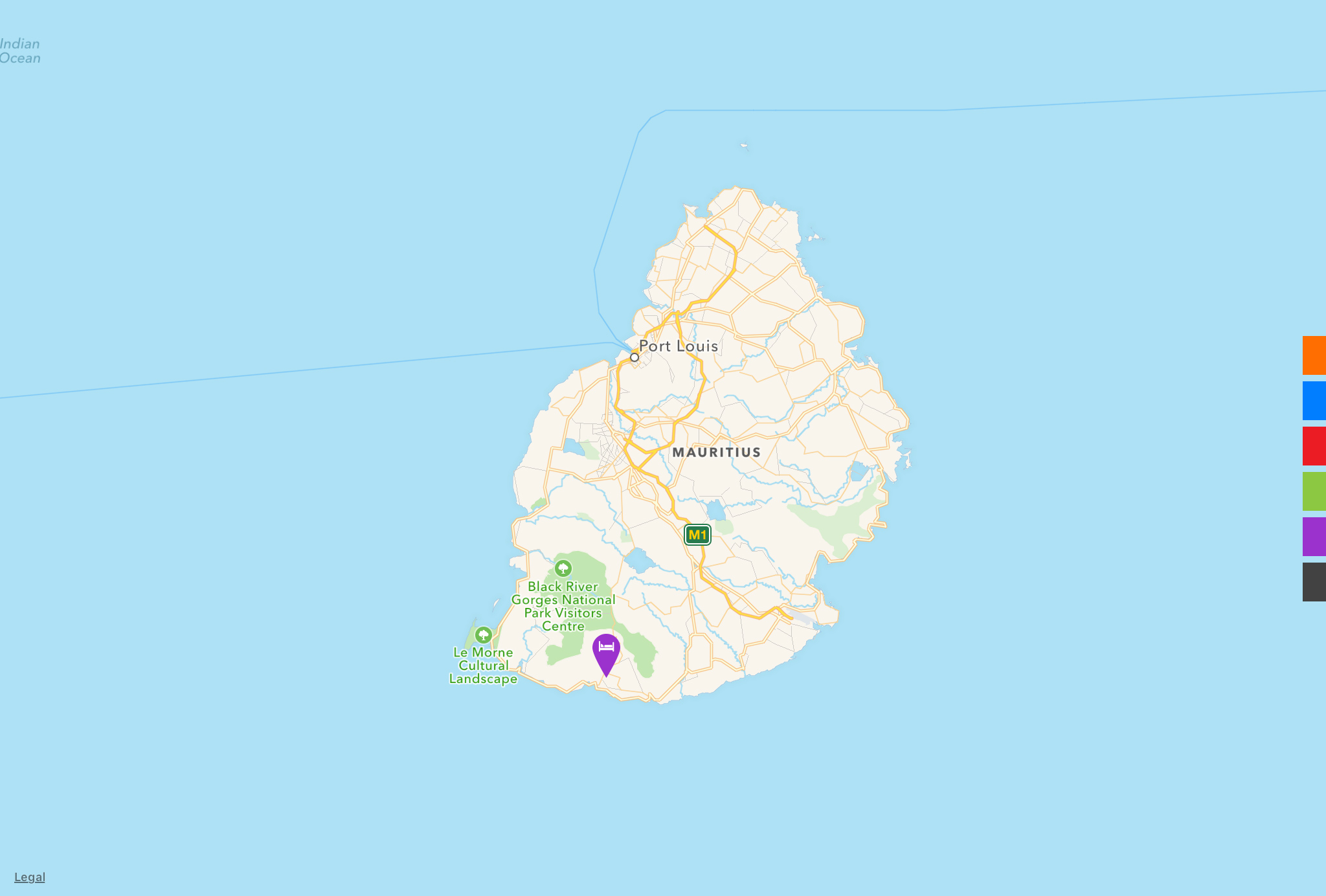 red dot maps design locations even on island mauritius