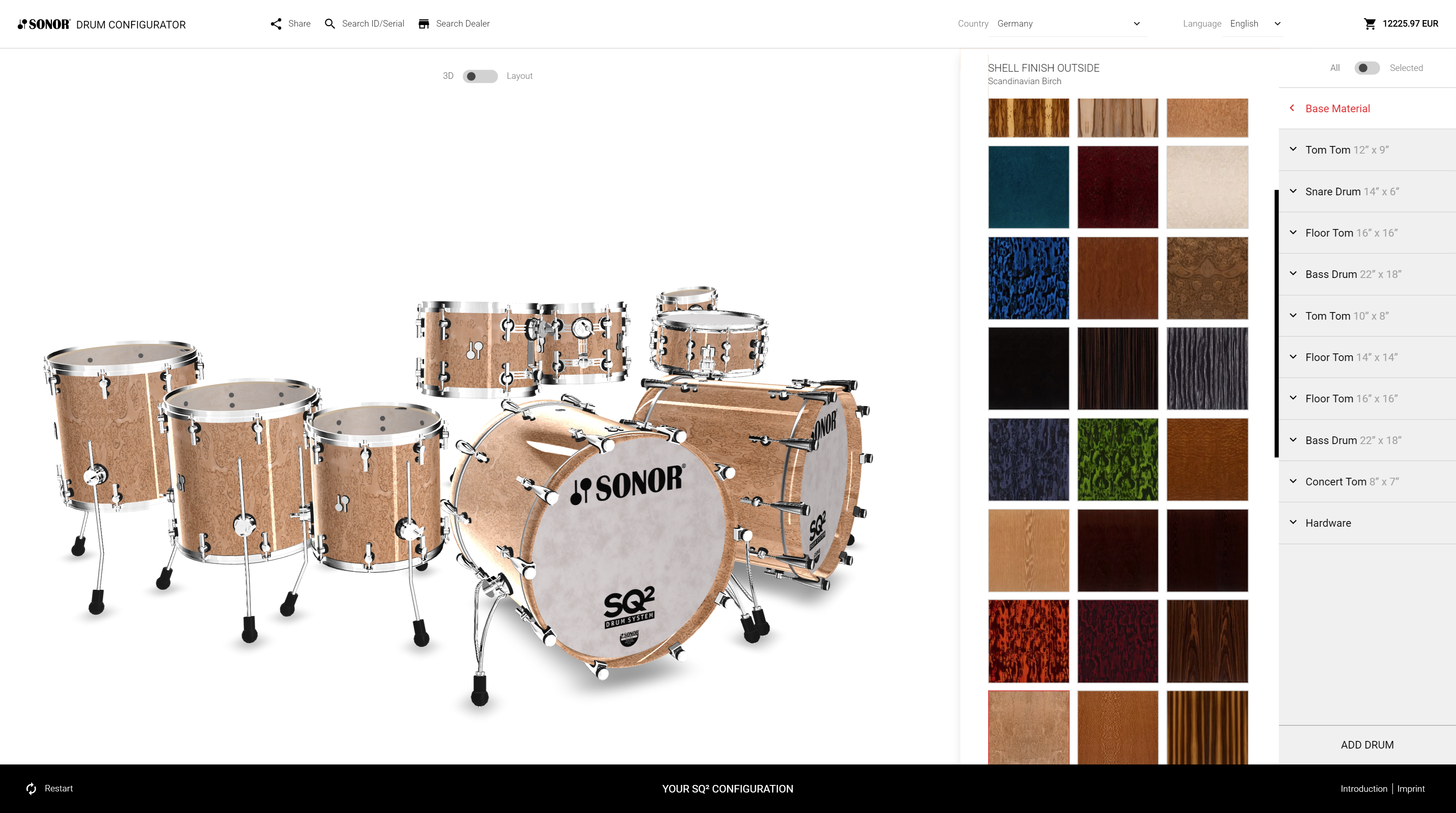 sonor sq2 configurator base material