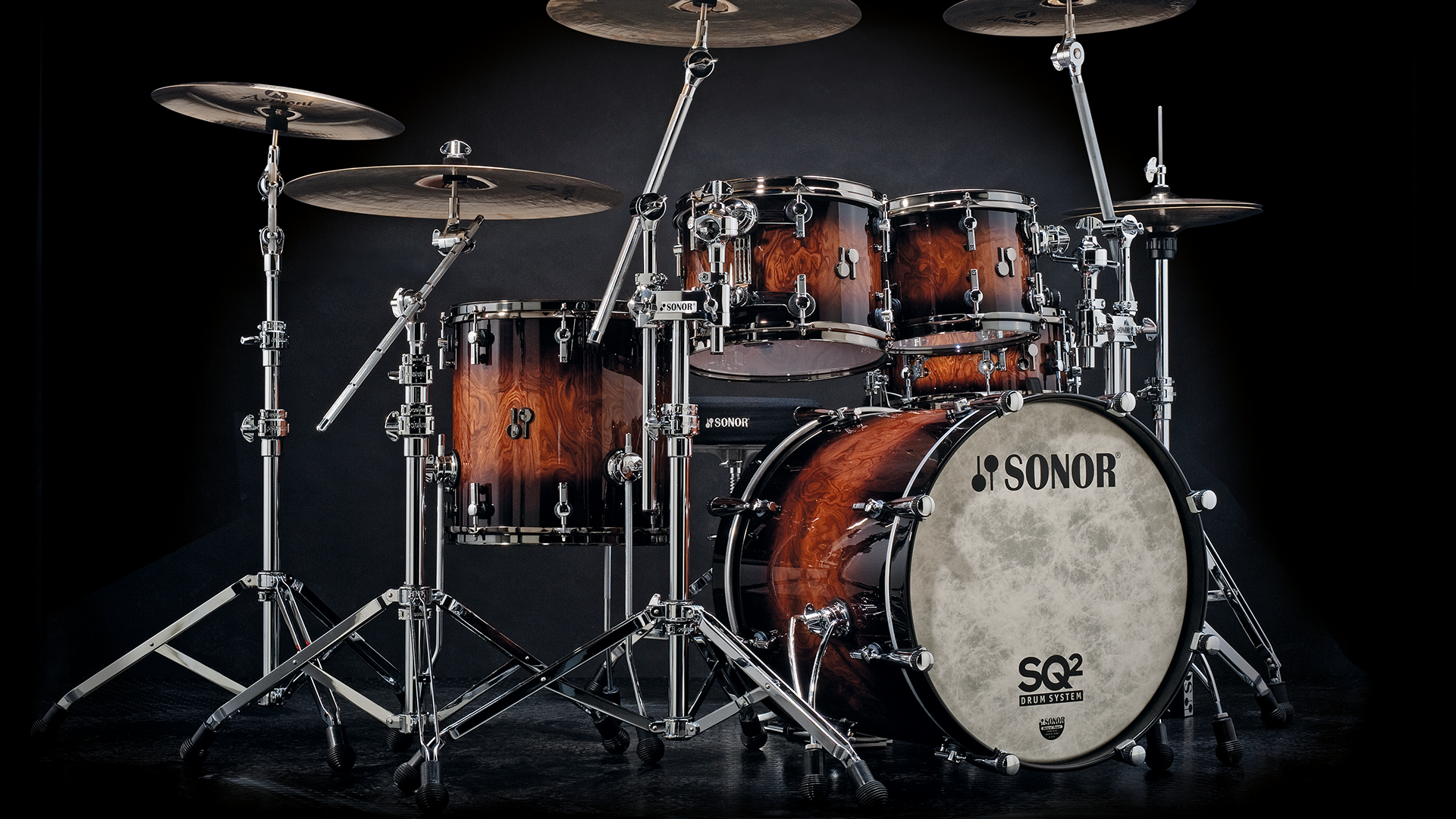 sonor sq2 drumset walnut brown burst