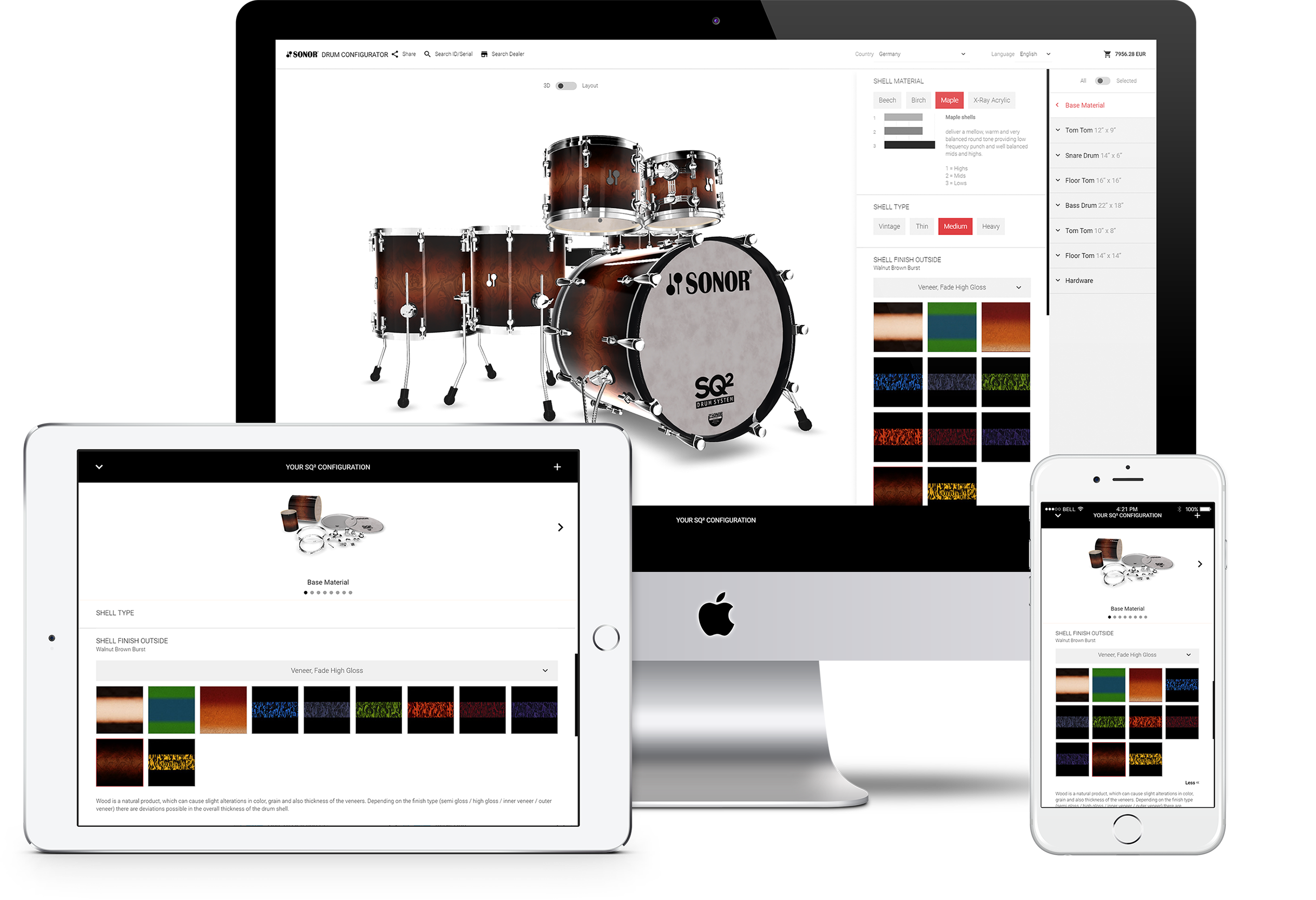 configurator webgl responsive desktop tablet iphone sonor drums